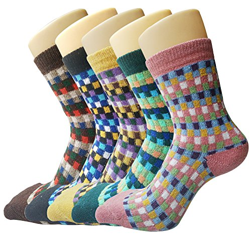 Justay Women's Vintage Style Cotton Knitting Wool Warm Winter Fall Crew Socks, Mixed Color 4, 5 Piece