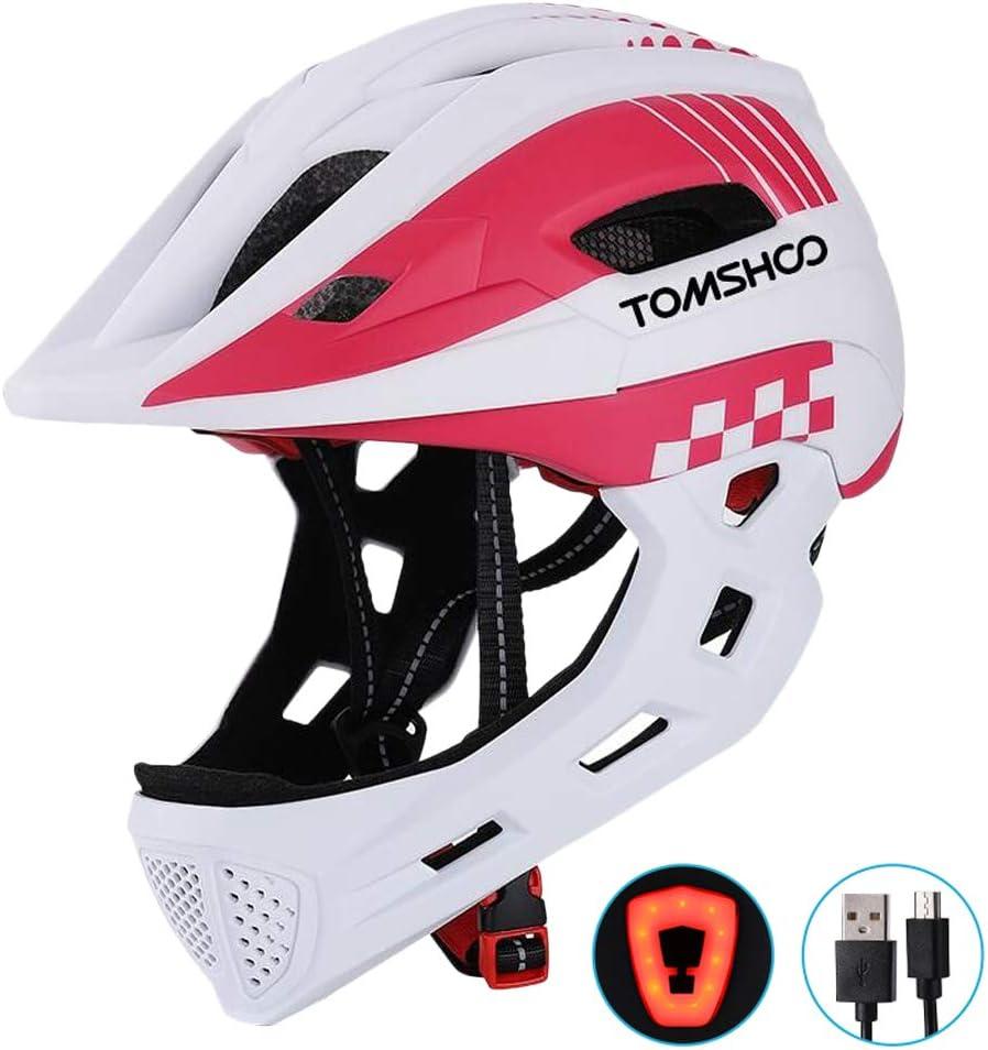 TOMSHOOH Casco integral de bicicleta para niños Casco de patinaje de seguridad para niños Casco de patinar Protector de cabeza deportiva con luz trasera y mentón desmontable-(Blanco): Amazon.es: Deportes y aire libre