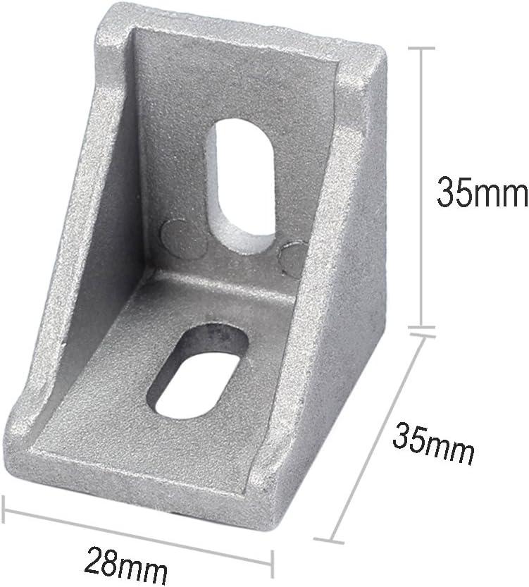 Justech 40pcs 3030 Joint /à Angle Droit Support dAngle L Forme Angle de 90 Degr/és en Aluminium Support de Fixation Nut 8 avec Vis pour Porte Fen/être Meuble-35x35x28mm