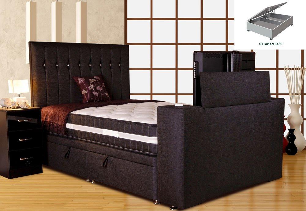 Sparkle Divan TV Bed- Black, Super King Size 6ft, Platform Top ...
