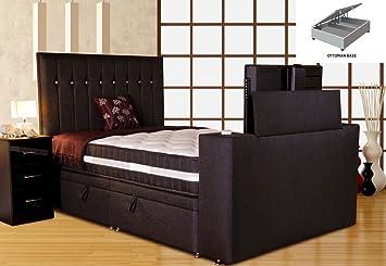 Sparkle Divan TV Bed Black Super King Size 6ft Platform Top Ottoman Base