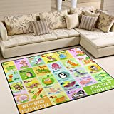 Naanle Educational Alphabet Area Rug 5'x7', Cute Animal Polyester Area Rug Carpet for For Kids and Children Nursery Playroom