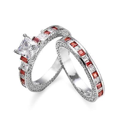 Amazon Com Fashion Ring Umfun Women 2 In 1 Red Diamond Ring
