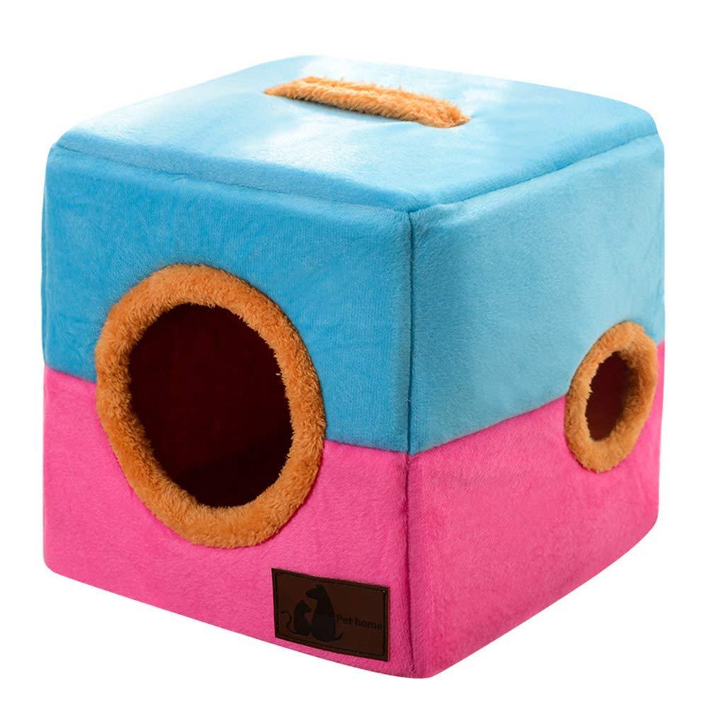 Cuscinetto Morbido per Animali Domestici Che Dorme Pieghevole Creativo Pet Dog House Cat House Confortevole Grotta Nest Puppy Kennel - Fodera in Peluche - Design Doppio Foro - Impugnatura Portatile -