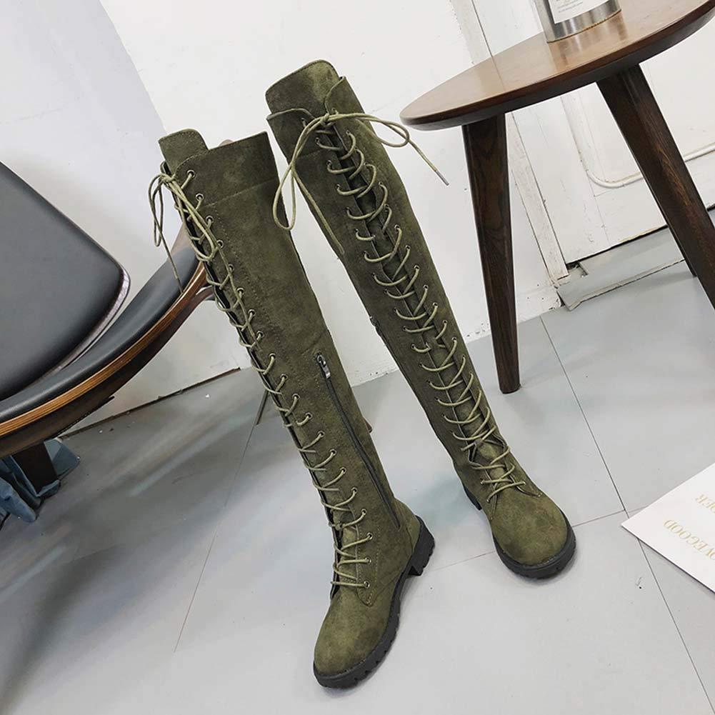 f1c07cbc790f Anokar Stiefel Damen Overknee Stiefel Flach Winter Flachen Wildleder Schn ü  ren Plateau High Boots
