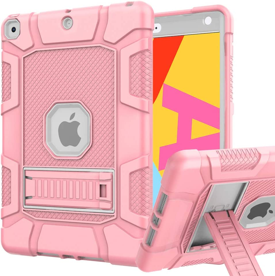 iPad 8th Generation Case, iPad 7th Generation Case, iPad 10.2 Case, Hybrid Shockproof Rugged Drop Protection Cover Built with Kickstand for iPad 10.2 Inch 7th/8th Generation (Rose Gold)