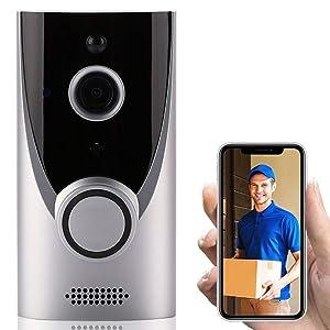 Home WiFi Smart Wireless Security Doorbell Visual Intercom Recording Video Kits (Silver)