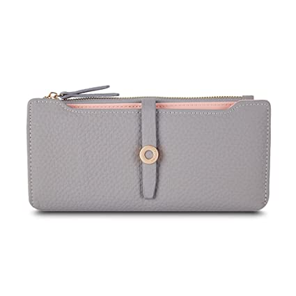 Amazon.com: Latest Lovely Leather Long Women Wallet Girls Change Clasp Purse Money Coin Card Holders Wallets Carteras Grey