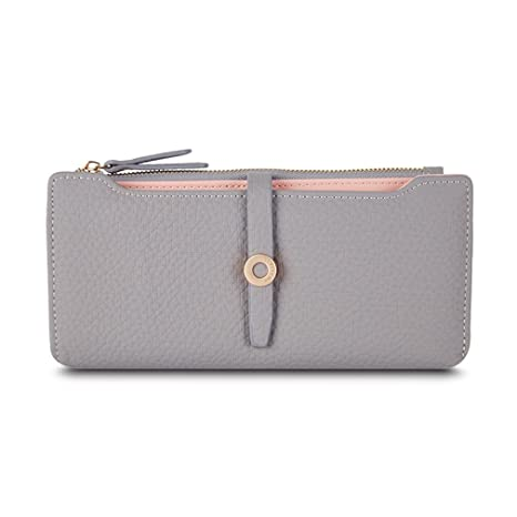 Amazon.com: Latest Lovely Leather Long Women Wallet Girls Change Clasp Purse Money Coin Card Holders Wallets Carteras Grey: YHDIUHFFjh