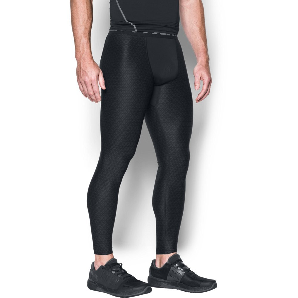 Under Armour Men's HeatGear Armour Printed Compression Leggings,Black/Graphite, Medium by Under Armour