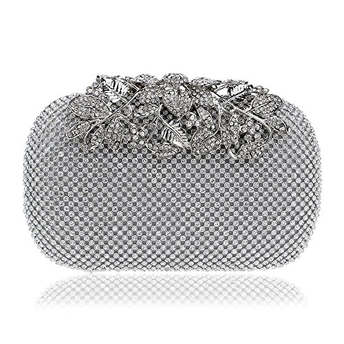 Edith qi Evening Bags and Clutches Crystal Rhinestone Beaded Clutch Purse Pearl Handbag for Wedding Party
