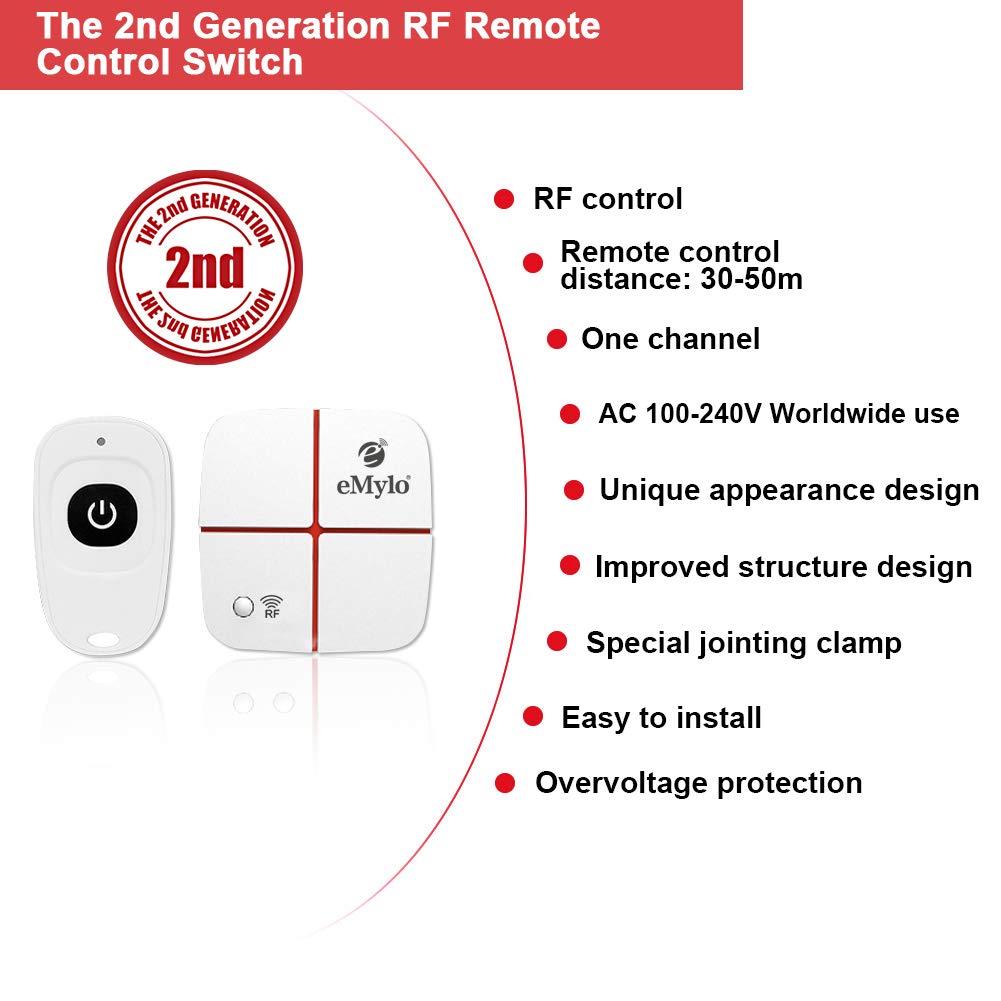 eMylo AC 100 V-240 V 2 canaux sans Fil commutateur RF 10A Module r/écepteur r/écepteur T/él/écommande commutateur 433 MHz 2 /émetteurs et Un r/écepteur