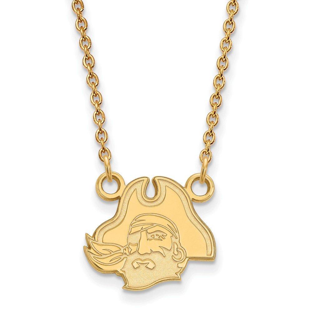 18 Gold-Plated Silver East Carolina University Pendant Necklace LogoArt GP048ECU-18