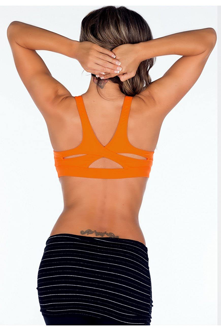 96b2b609cf0 Lino Fitness Sports Wear Bra Top with Criss Cross Back XS-S Orange at  Amazon Women's Clothing store: