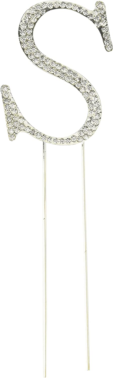 Small Silver Unik Occasions Collection Crystal Rhinestone Wedding Cake Topper Letter S