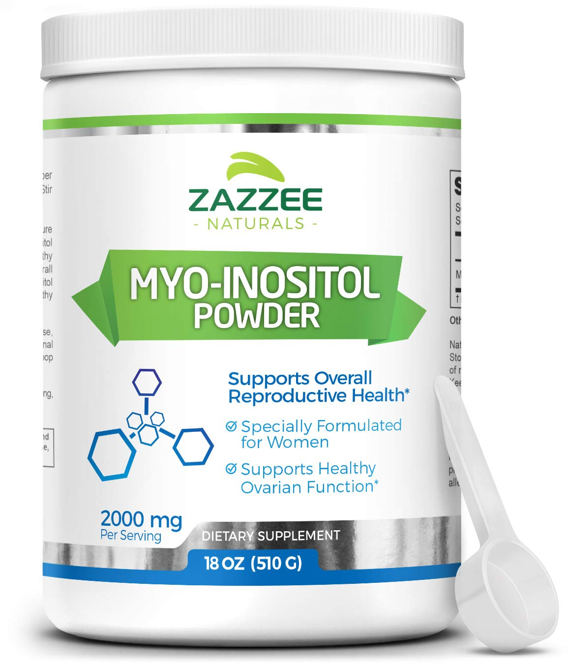 Zazzee Myo-Inositol Powder, 255 Servings, 18 Ounces (510 g), 2000 mg per Serving, Includes Free Scoop for Exact Dosage, 100% Pure, Vegan and Non-GMO
