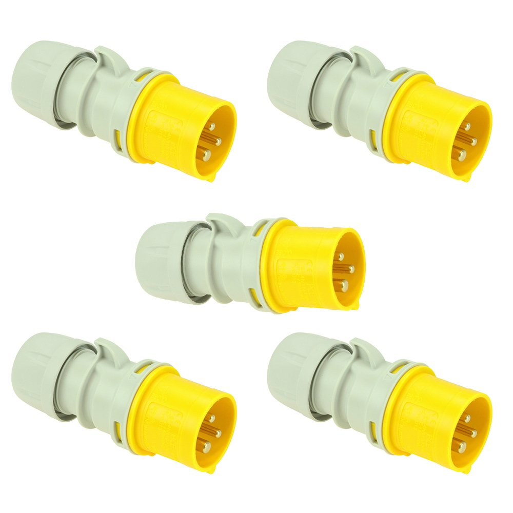 5x 16 AMP PCE Shark Series Plugs 110V 2P+E Single Phase IP44 CEE Ceeform Commando Industrial Connectors 110V Plug