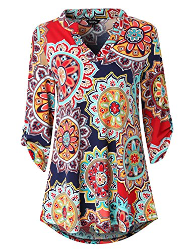 Dawiine Womens Casual Tunic Tops 3/4 Roll Sleeve Curved Hem Floral Print Tunic Blouse Shirts (Large, Navy Red) (Sleeve V-neck Tunic Top)