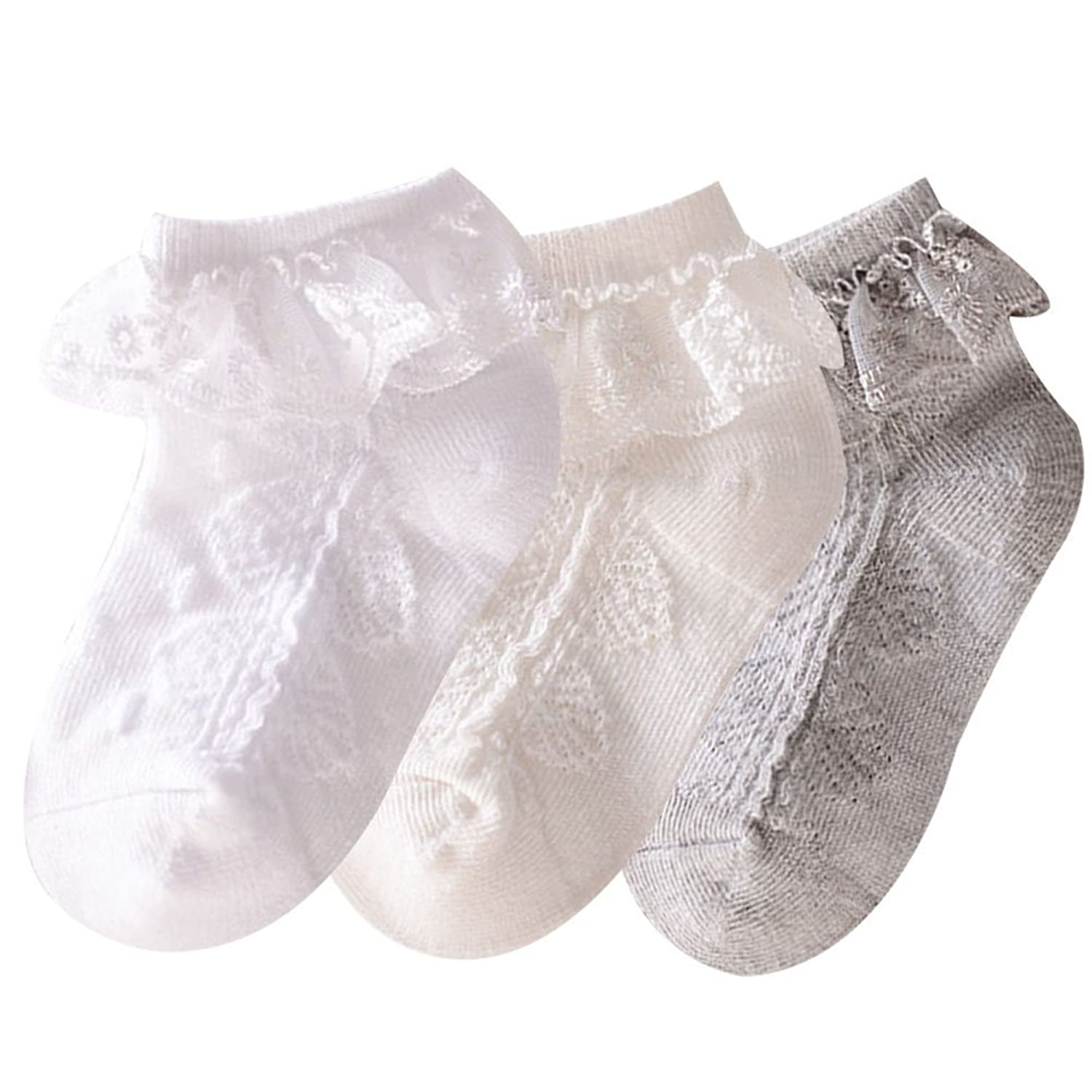 Taiycyxgan Baby Girls Eyelet Frilly Lace Socks 3 Pack Infant Toddler