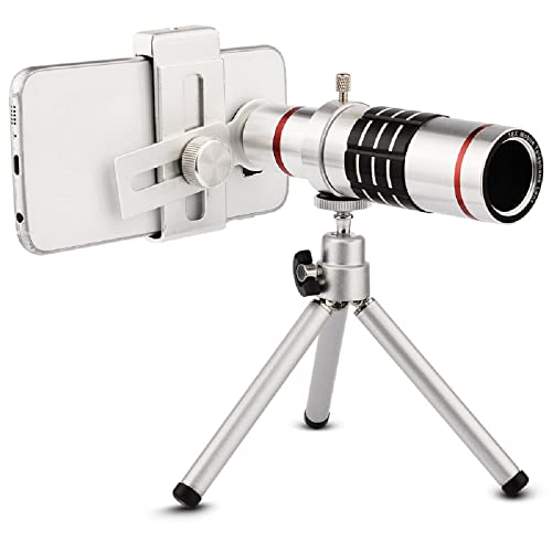 Camera Lens, elecguru Universal 18x Universal Optical Telescope Mobile Lens For Phone Samsung HTC 18X Lens with tripod (18X Universal Clip )