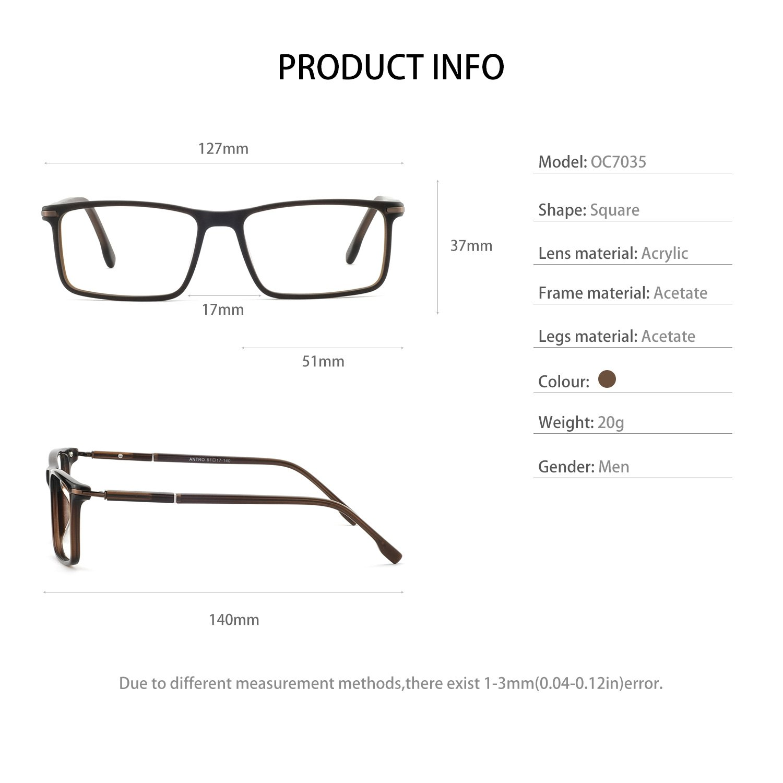 906274cfaf6 OCCI CHIARI Men Fashion Rectangle Stylish Eyewear Frame With Non- Prescription Clear Lens 54 )
