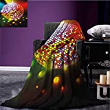 Popstar Party outdoor blanket Vibrant Colorful Disco Ball Nightclub Celebration Party Dance and Music Print Custom made Multicolor size:60''x80''