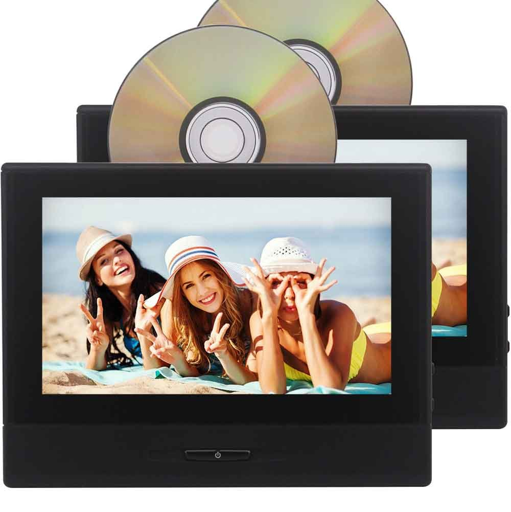 2個の8インチ1280×720タブレットスタイルの車のヘッドレストブラケットモニタータッチキーDVDプレーヤーエンターテイメントシステムUSB / SD / FM / 32ビットゲームTFT LCD画面支持ヘッドフォン+リモコン B0787WZ2ZY