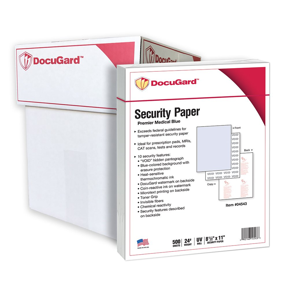 DocuGard Security Paper, 8.5 x 11 Inches, Blue, 500 Sheets per Ream (04543) Paris Business Products