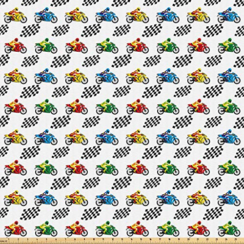 (Ambesonne Motorcycle Fabric by The Yard, Sports Bike with Racing Riders Among Black and White Chequered Flags Competition, Microfiber Fabric for Arts and Crafts Textiles & Decor, 10 Yards, Multicolor)