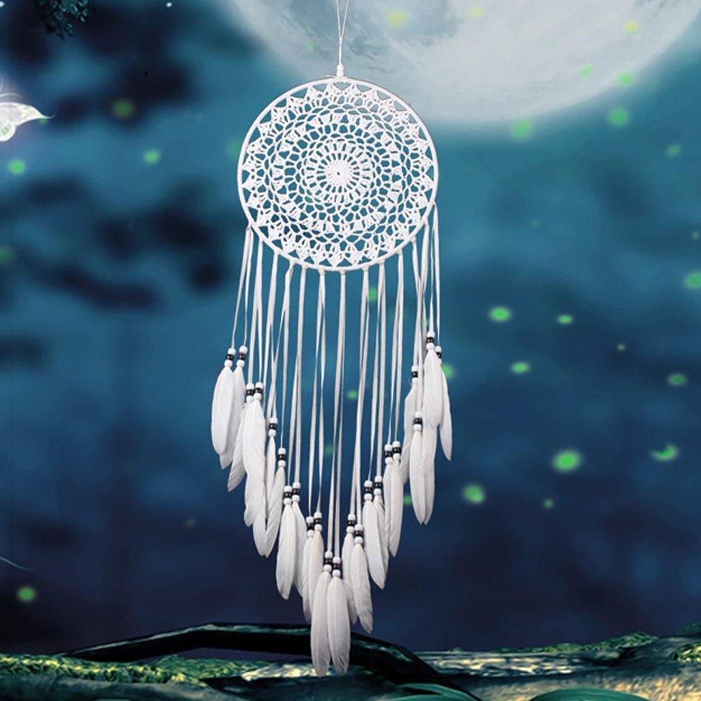Pro handgefertigt weiß Spitze Traumfänger Windspiel Dreamcatcher Net hängende Dekoration Ornament für Schlafzimmer/Home Decor/Hochzeit (Durchmesser 20In), a, Einheitsgröße Einheitsgröße Per