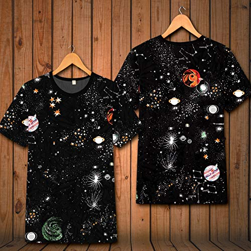 LIZIJIN 3D Printed ShortShort Sleeve T-Shirt T-Shirt Cartoon Ice Silk Half Sleeve Top Vest Menswear, 185/2XL