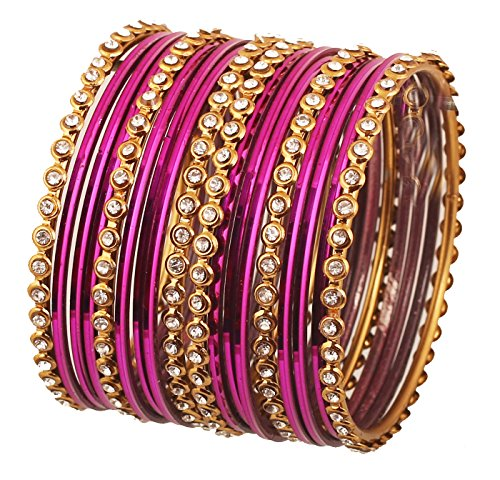 "Touchstone ""Colorful Bangle Collection Indian Bollywood Alloy Metal and Textured Hot Magenta Wrist Beautifier Designer Jewelry Bangle Bracelets. Set of 18. in Antique Gold Tone for Women."