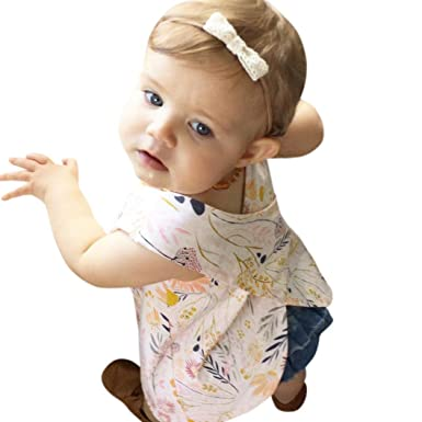 2978baba0 Amazon.com  CSSD Kids Baby Girls Casual  Floral Print   T-Shirt Tops ...