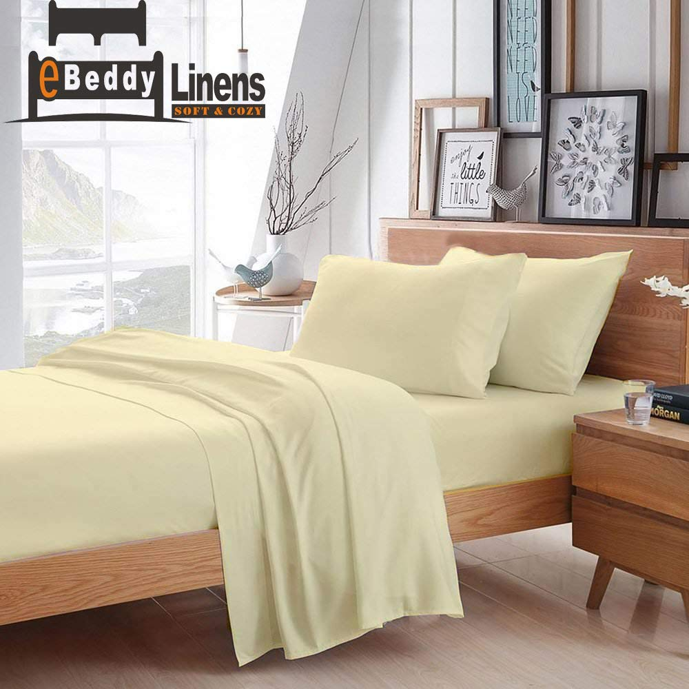 eBeddy Linens 800 Thread Count Hypoallergenic Soft 4-Pieces Bed Sheet Set | Single Ply - Sateen Weave Natural Cotton | Expanded/Olympic Queen Size Fits Upto 18'' Deep Pocket Ivory Solid
