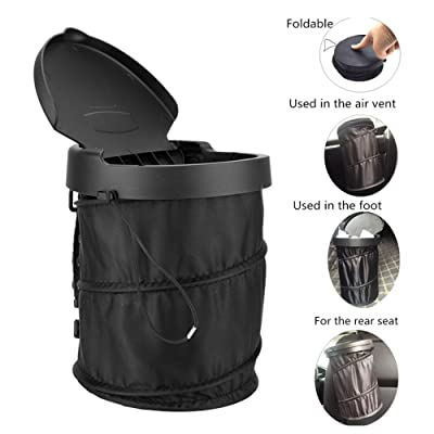 Haofy Car Trash Can with Lid Collapsible, Small Portable Trash Garbage Bag Container for Car Hanging Garbage Bin for All Vehicle: Automotive