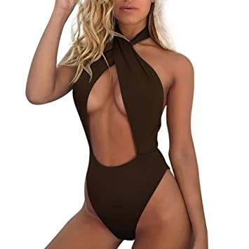 b470f96deef Image Unavailable. Image not available for. Color: Women One Piece Swimsuit  High Waisted Halter Cross Strap Ruffled Flounce Bikini Cut Out ...