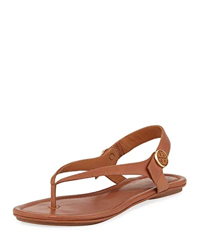 f2e9b86427cdb Tory Burch Women s Minnie Leather Flat Travel Sandal (Royal Tan) ...