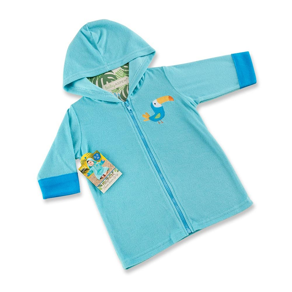 Baby Aspen Tropical Toucan Hooded Beach Zip Up, Blue BA14061BL