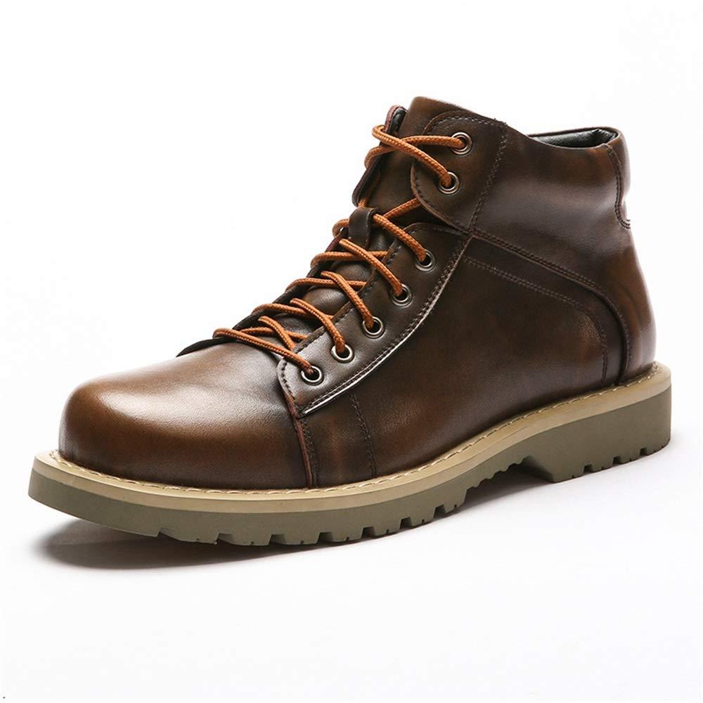 ZHRUI Echtes Poliertes Lackleder Stiefel für Männer Weiche Sohle Durable Comfort Stiefel (Farbe   Braun, Größe   EU 42)