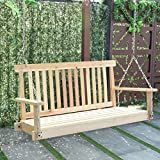 Giantex 4 FT Porch Swing with Chain Natural Wood Garden Swing Seat Patio Hanging Seat For Sale
