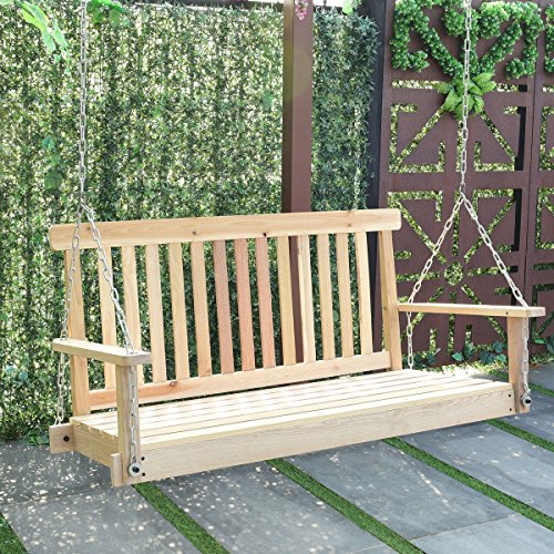Giantex 4 FT Porch Swing with Chain Natural Wood Garden Swing Seat Patio Hanging - Outdoor Swing Wooden
