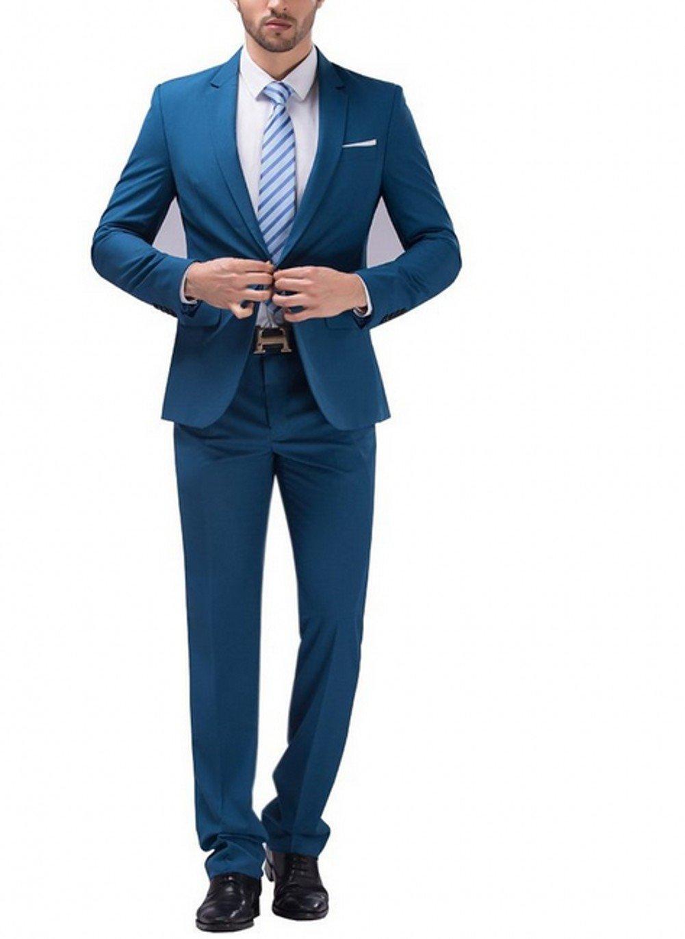 AK Beauty Men's Suit Two-piecce Best Man Suit Jacket and Pants Blue XL
