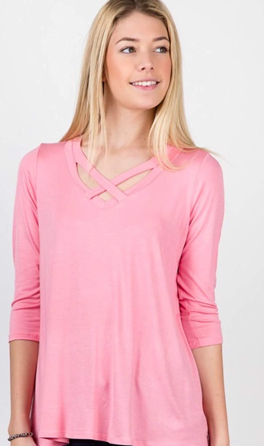 Small Crisscross at Neckline and Loose fit top Blush Pink 3//4 Sleeve