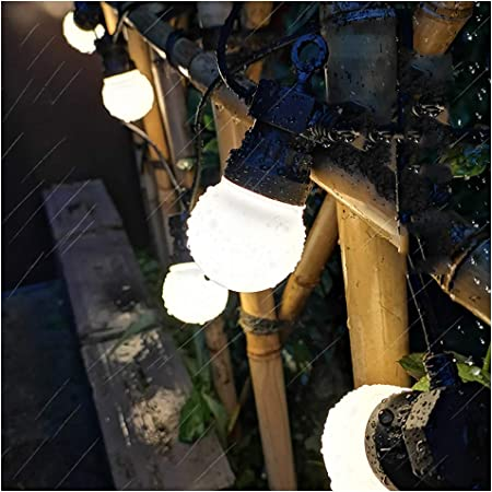 TIM-LI Luces De Cuerdas De Globo con Lazo Colgante, 29.5 Pies 20 Bombillas LED Resplandor Cálido Impermeable Al Aire Libre para Patio Trasero Pergola Bistro Cafe Porche Decoración: Amazon.es: Hogar