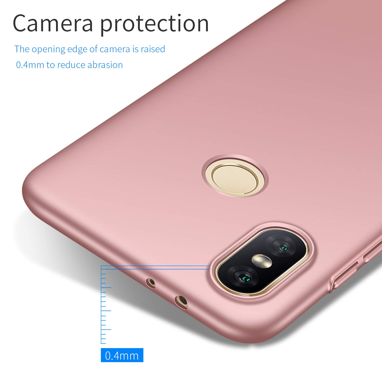 Avalri Xiaomi Mi A2 Case, Ultra Thin Anti-Fingerprint and Minimalist Hard PC Cover for Xiaomi Mi A2 / 6X (Silky Rose Gold)
