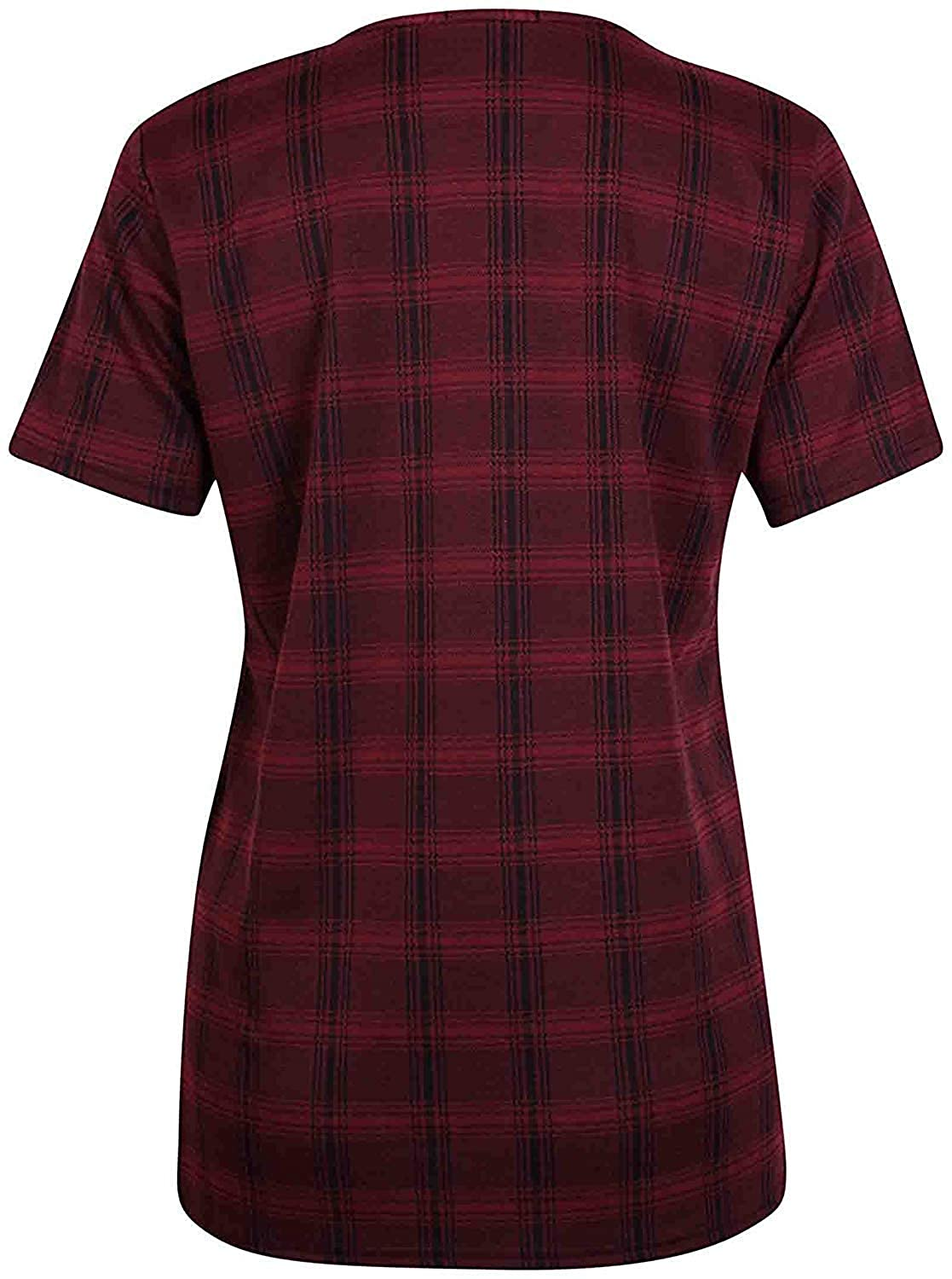 Womens Tartan Check Printed Ladies Stretch Short Sleeve Round Scoop Neck T-Shirt Tank Top Plus Size