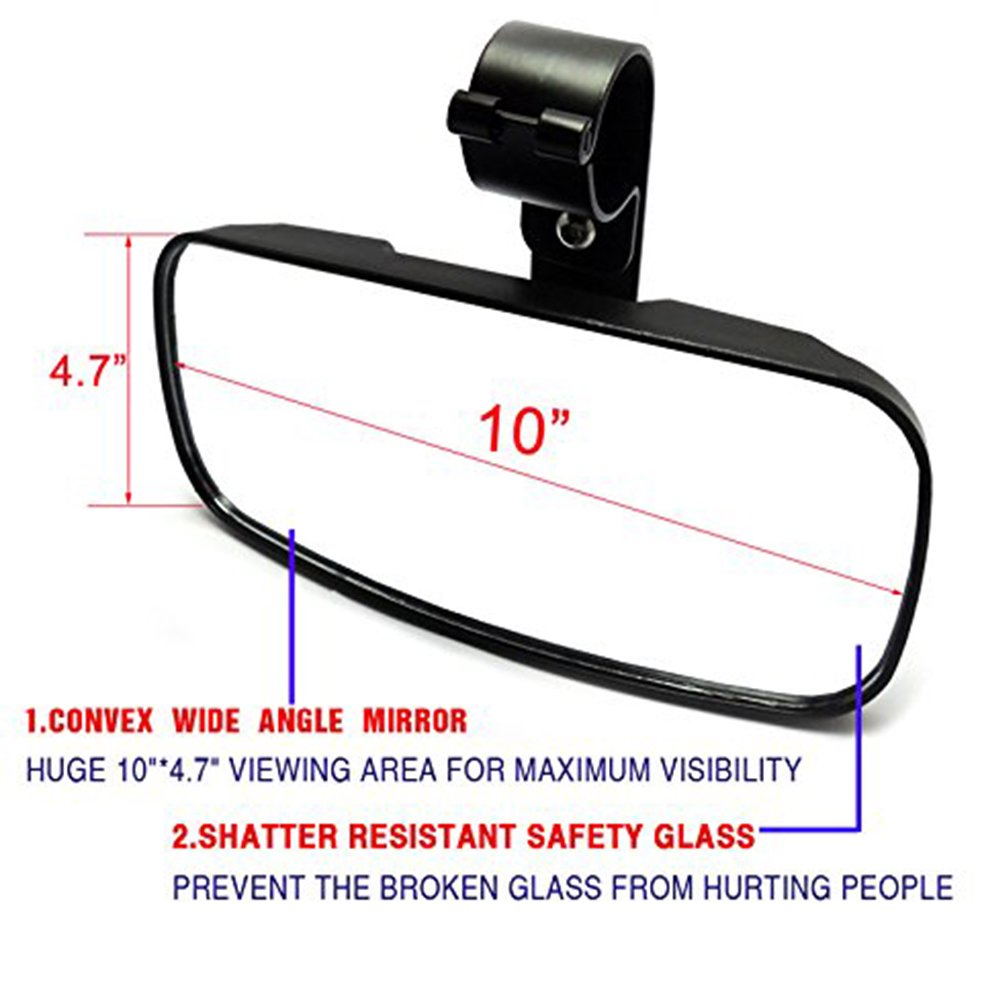UTV Rear View Mirror ISSYAUTO Off road 2 Clamp Mirror with Rust-Proof Iron Bracket for Polaris RZR XP 900 1000 Can Am Commander Maverick Updated Version