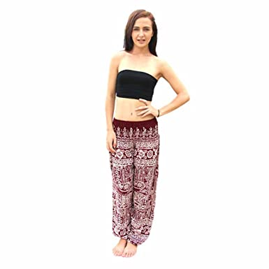 ef39d4f41c Womens Yoga Pants,YKA,Men Thai Harem Trousers Boho Festival Hippy Smock  High Waist Pants for Ladies - Purple - Free Size: Amazon.co.uk: Clothing