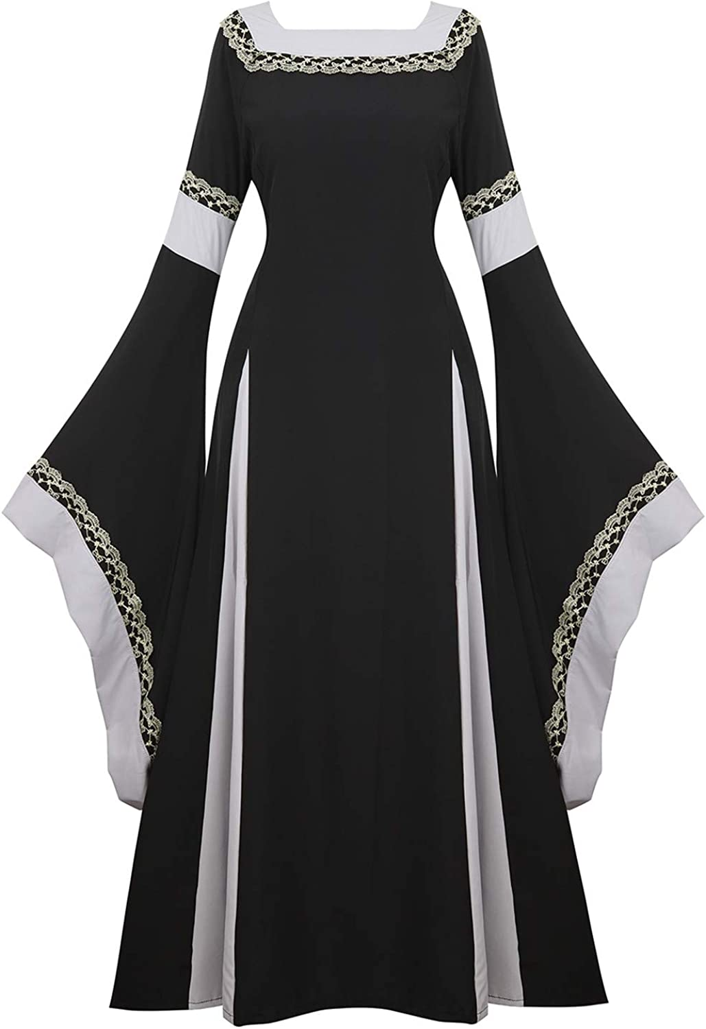 Women Medieval Vintage Skirt Lace Up Dress Halloween Costume Cosplay