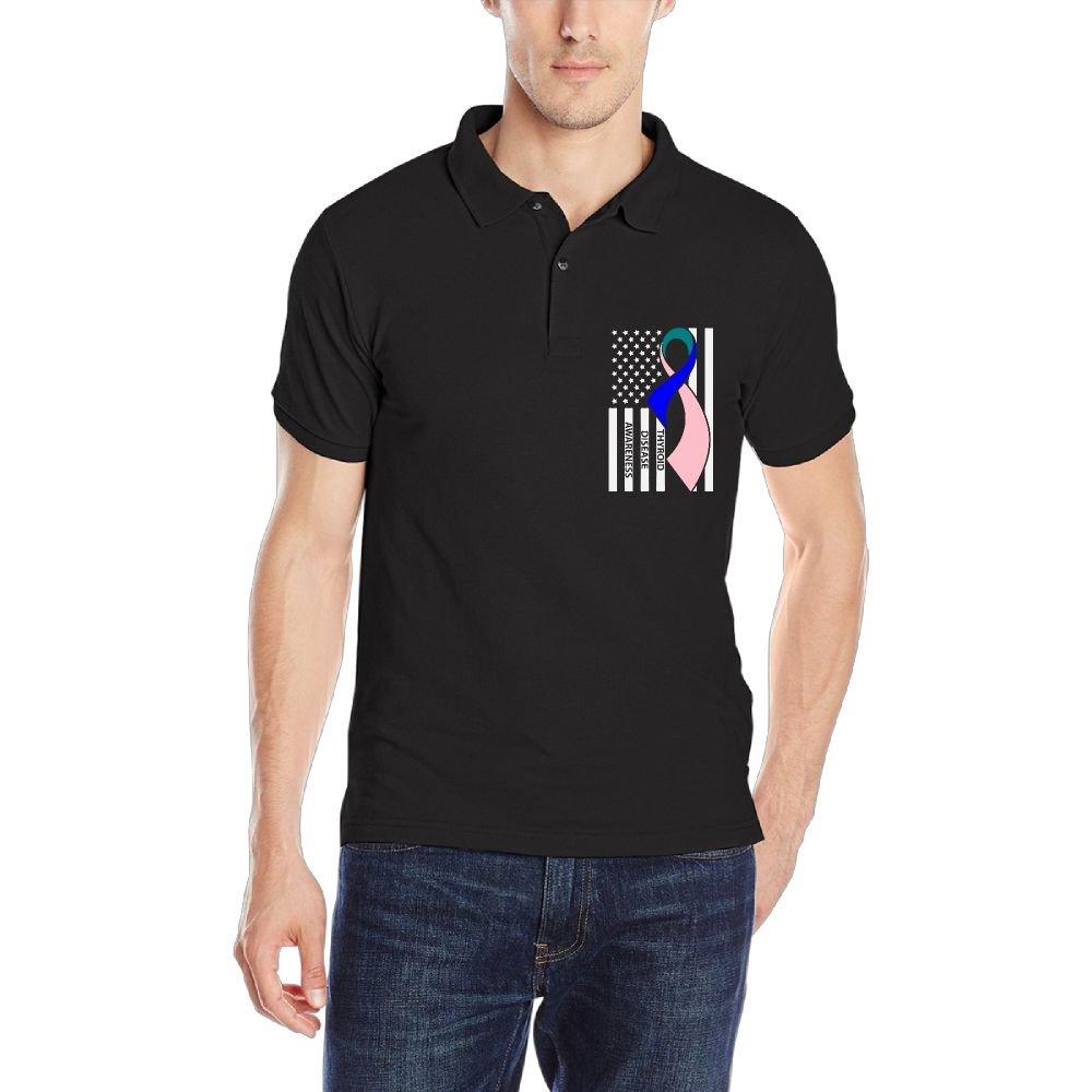Thyroid Awareness Mens Short-Sleeve Polo Sport Shirt